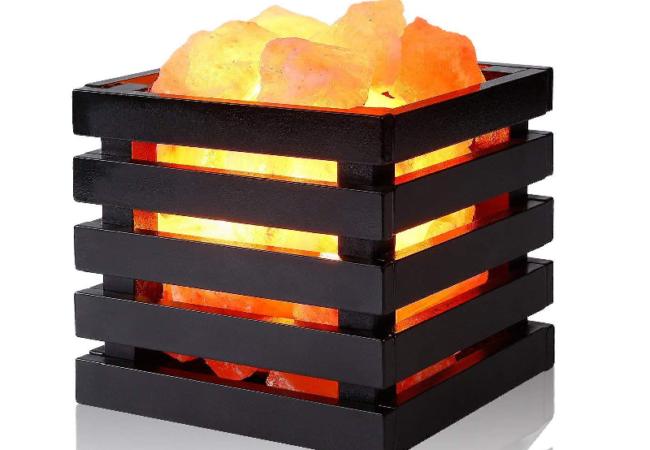 Cuboid Wooden Salt Basket Lamp