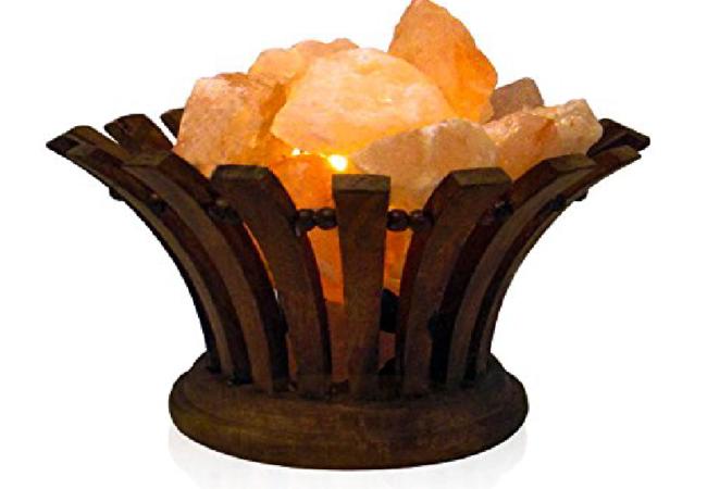 Oval Wooden Salt Basket Lamp