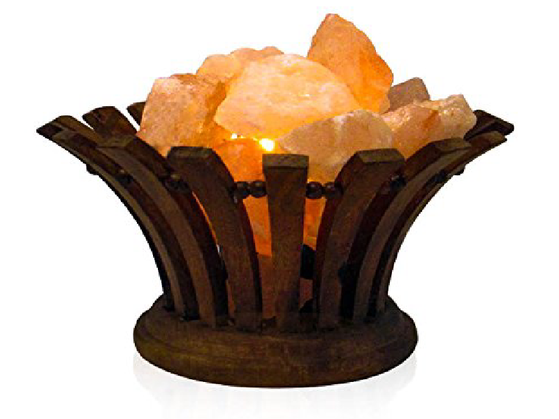 Oval Wooden Salt Basket Lamp