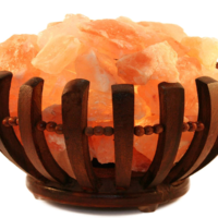 Round Wooden Salt Basket Lamp